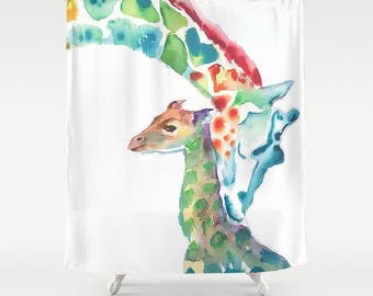 Giraffes Shower Curtain Jungle Shower Curtain Sorority Gift College Girl Shower Curtain Kids Bathroom Decor Kids
