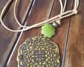 Mustard yellow leather medallion necklace