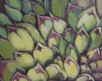 "KIT SALE Garden Art Painting Decor ""Hen and Chicks no.3"" free shipping, succulent leaves, xeriscape, original, yellow green red violet, gard"