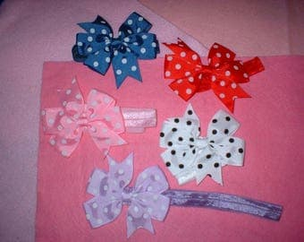 3  inch  Hair Bows on headbands 3V  total of 5