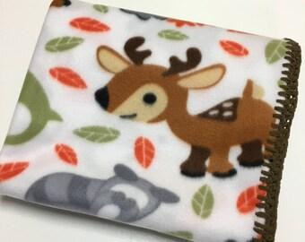 Baby Blanket Woodland Baby Animals Fleece with Chenille Crochet Edges Gender Neutral Deer Fox Owl