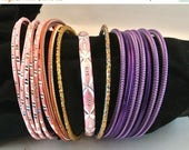 Christmas In July 40% Off Pink and Purple Bangle Bracelets, 21 Metal and Plastic Bangles, Gift For Her, Christmas Gift