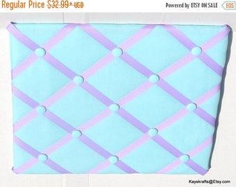 July 4th Sale Aqua Memory Board French Memo Board, Aqua Fabric Pin Board, Fabric Ribbon Memo Bulletin Board, Christmas Gift