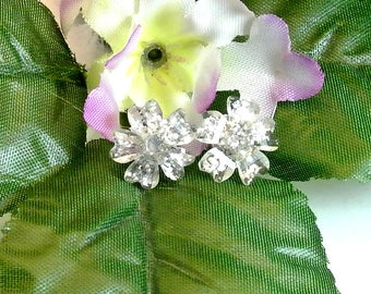 Clear Acrylic Flower Stud Earrings Vintage Stud Earrings Clear Post Earrings Acrylic Earrings 1970 Earrings Free Shipping In USA
