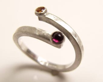 Red Garnet and citrine Set of stacking rings in sterling silver