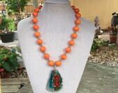 Orange and Agate Slab Necklace