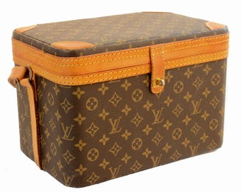 Rare Louis Vuitton Monogram Train Case Travel Bag Beauty Vanity + Luggage Tag 80s