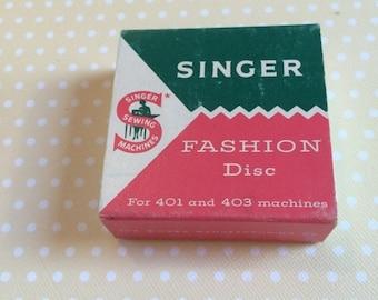 1/2 off Blowout Sale Singer top hat cam in original box.  Fashion Disc #16, Shag pattern 174544