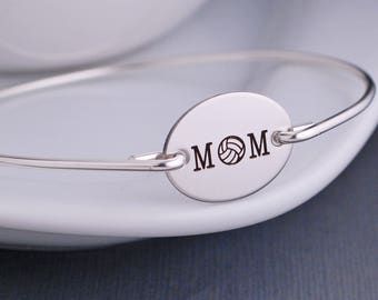 Volleyball Mom Bracelet, Volleyball Jewelry, Personalized Volleyball Mother Bangle Bracelet, Sports Mom