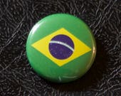 "1"" Brazil flag button, country, pin, badge, pinback, Made in USA"
