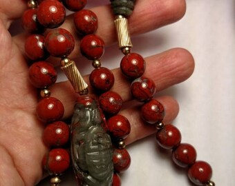 SALE TODAY Vintage Red Green Jasper Asian Carved Long Beaded Necklace 14K Gold Filled Accent Beads