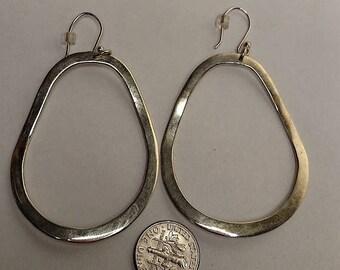 BIG SALE Huge Vintage Mexican Sterling Silver Front Drop Open Hoop Mod Statement Earrings Pierced