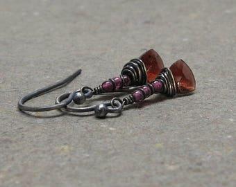 Garnet Earrings Geometric Jewelry January Birthstone Red Triangle Earrings Oxidized Sterling Silver Wire Wrapped