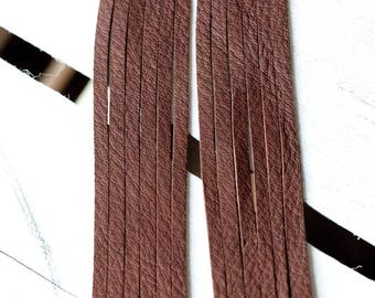 long brown leather fringe earrings - hand cut deerskin