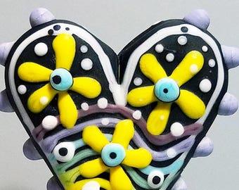 Rainbow Flower Power Big Heart (ETCHED) --Handmade Lampwork Glass Bead