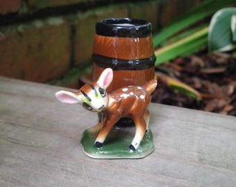Vintage Woodland Fawn Toothpick Holder  - Retro Baby Deer & Barrel Figurine - Mini Ceramic Planter / Home Decor - New House / Holiday Gift