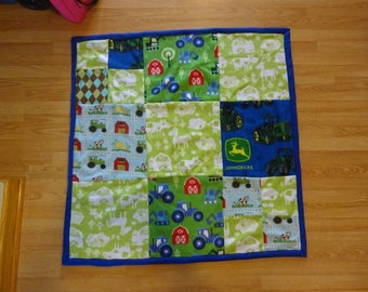 Farm patchwork infant/toddler fleece blanket