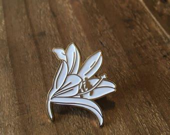 White Lily enamel pin