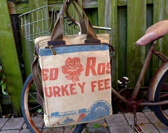 Red Rose - Turkey Feed - Minnesota - Americana Vintage Seed Feed Sack Book Tote W- OOAK Canvas & Leather Tote... Selina Vaugha
