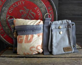 Red Rose Feeds - Schwenk  Seeds -  Convertible Belt/Waist Bag Vintage seed sack - Americana OOAK Canvas & Leather Bag Selina Vaughan Studios