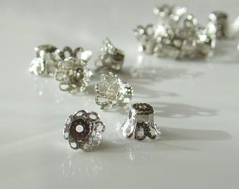 Summer Sale 5mm x 6mm Bright Silver Filigree Bead Caps - 25 Pieces - LCE113