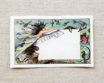 Mermaid Bookplate Stickers - Nautical bookplates - Ex Libris - book labels - custom book plates - gifts for her - personalized gift under 20