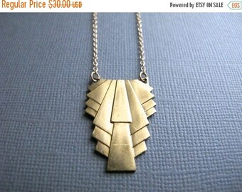 ON SALE Goldie. Art Deco Necklace, Geometric Brass Pendant on 14K Gold Filled Chain