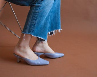 lavender purple leather mules / low heel mules / US 6 B / 840s / B2