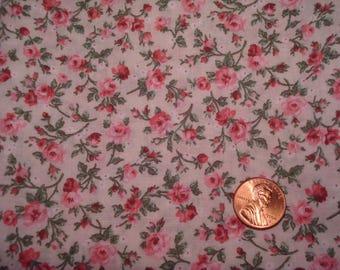 QUARTER YARD Vintage fabric V.I.P. Cranston floral print pink doll dress making Blythe sewing quilting