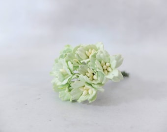 10 20mm soft mint paper cherry blossoms - 2 cm green paper flowers with wire stems