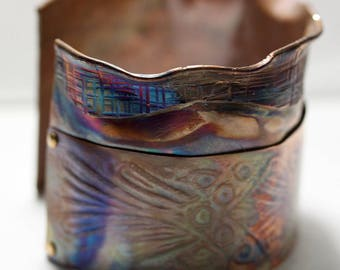 Banded Fold-formed Copper Cuff