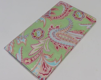 Checkbook Cover Case Cheque Coupons Receipts Money Holder - Mint Green Paisley Fabric - Amy Butler Fabric