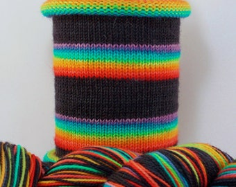 Does This Rainbow Make My Black Look Big: Hand-dyed gradient self-striping sock yarn, 80/20 SW merino/nylon