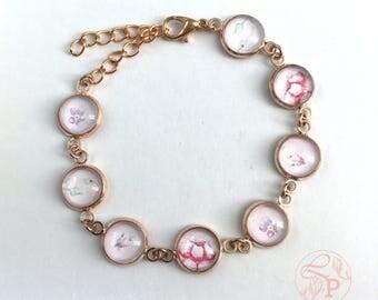 Vintage floral rose gold bracelet / pink shabby chic floral bracelet / rose gold jewellery / purple butterfly / forget me not / pale pink