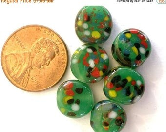 SALE 15% off Vintage beads (6) glass Japanese lampwork green emerald handmade coin beads dots multicolor spots 11mm (6)