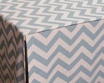 Designer Dog Crate Cover, Zig Zag Spa Blue/Natural Cover, YOU Choose Fabric, Pet Crate Cover, Personalization & Grommets Extra