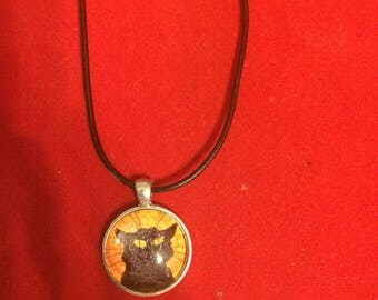 Chat Noir Black Cat Small Round Pendant Necklace w/ Black leather cord