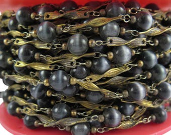 """Vintage Black """"Tigers Eye"""" Glass Beaded Chain with Cable Links (4 Feet) (CP251)"""