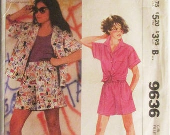 60% OFF SALE 1980s Childs Sewing Pattern McCalls 9636 Girls Shirt & Shorts Pattern Size Medium Uncut