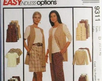 30% OFF SALE 1990s Misses Sewing Pattern McCalls 9311 Misses Vest, Top & Pants or Shorts Pattern Size 12, 14, 16 Uncut