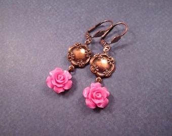 Flower Earrings, Hot Pink Roses, Copper Dangle Earrings, FREE Shipping U.S.