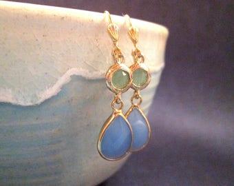 Blue and Sage Glass Bezel Earrings, Gold Dangle Earrings, FREE Shipping U.S.