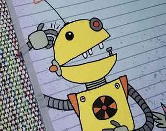 """Yellow Robot Notepad 4"""" x 6""""- Note Pad 50 sheets """"Even Robots Forget Sometimes!"""" Funny Quirky Snaggle-Toothed Robot with Winged Cat buddy"""