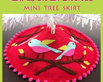 Birds n Branches No-Sew Mini Tree Skirt Versatile SVG cut file Design cutting w Cricut Silhouette Felt, Pillow HTV T-Shirt Vinyl Signs Decor