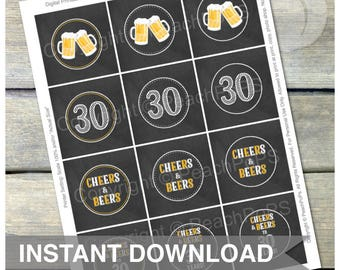 Cheers & Beers Cupcake Toppers - 30 Years - Chalkboard Style - Favor Tags - DIGITAL Printable - INSTANT DOWNLOAD