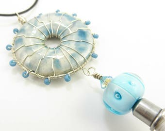 Wire Wrapped Ceramic Lampwork Tassel Necklace - Prima Donna Beads