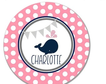 ON SALE Polka Dot Whale Girl's Melamine Tableware Set - Pink and Navy - Personalized Kid's Tableware - Personalized Kids Plate Set - Childre
