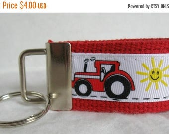 20% OFF Red Tractor Mini Key Fob - Farm Keychain - RED Tractor Zipper Pull - Tractor Key Ring