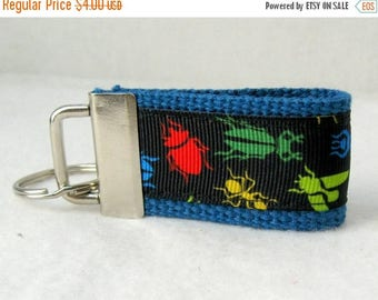 20% OFF Bugs Mini Key Fob - BLUE Insects Key Chain - Bug Zipper Pull - Backpack Identifier - Small Key Ring