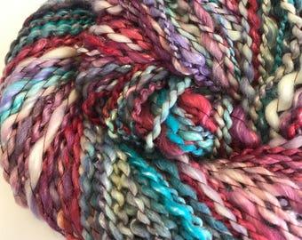 Handspun Yarn 140 Yards Merino and Silk Blend Hand Dyed